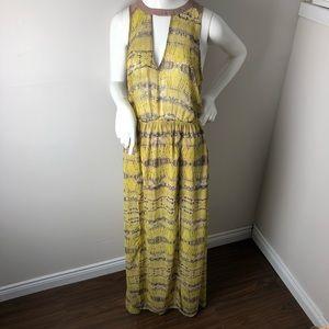 LUSH Yellow Boho Maxi Dress Cutput Open Back